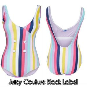 Juicy Couture Black Label Striped Plunge Swimsuit